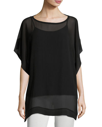 Eileen Fisher Bateau-Neck Sheer Silk Georgette Box Top,