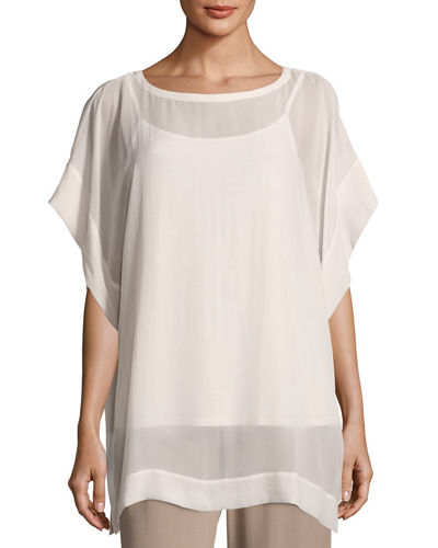 Bateau-Neck Sheer Silk Georgette Box Top, Petite