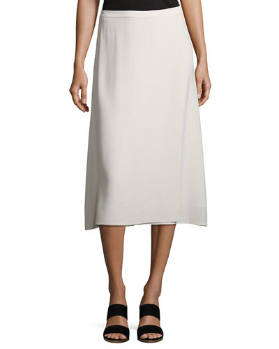 Silk Georgette Crepe Faux-Wrap Skirt