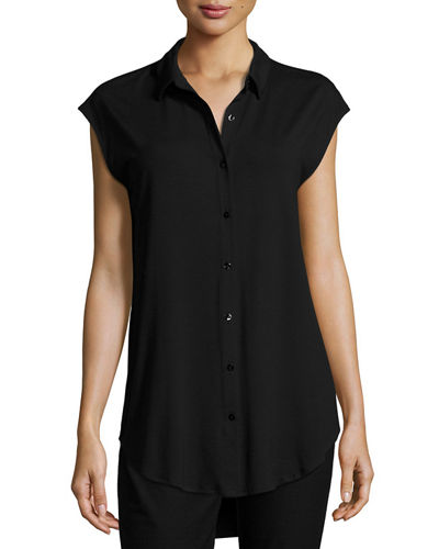 Lightweight Button-Front Jersey Tunic, Plus Size
