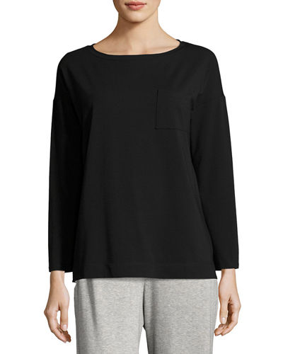 Eileen Fisher Bateau-Neck Stretch-Jersey Box Top w/ Pocket
