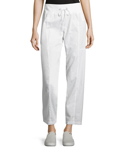 Organic Stretch-Poplin Ankle Pants
