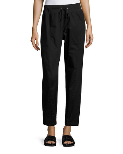 Organic Stretch-Poplin Ankle Pants, Petite