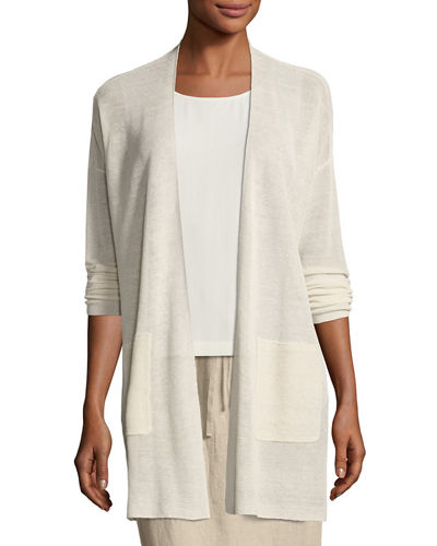 Fine Stretch-Linen Crepe Long Cardigan, Plus Size
