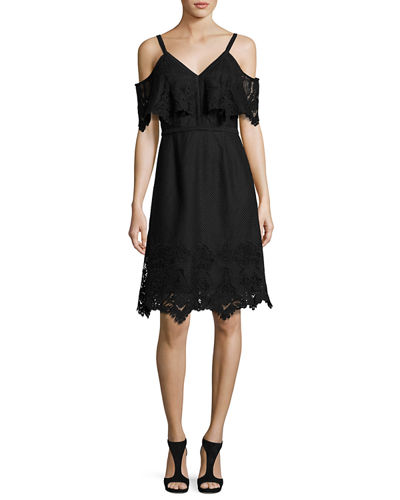 Helene Cold-Shoulder Silk Cocktail Dress