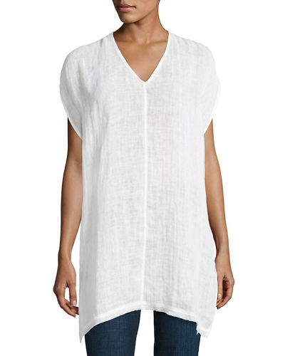 Organic Linen Cap-Sleeve V-Neck Top