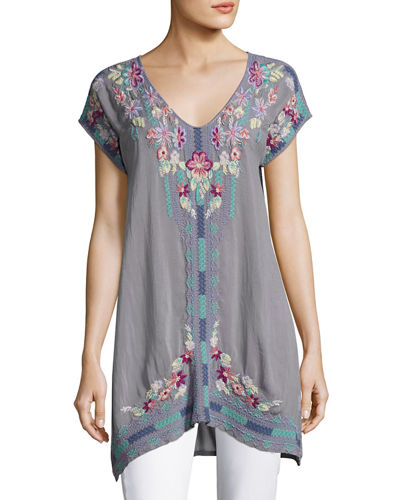 Yassi V-Neck Long Embroidered Tunic