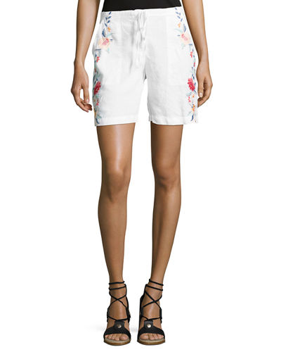 Janelle Embroidered Linen Shorts