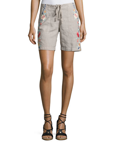 Janelle Embroidered Linen Shorts, Plus Size