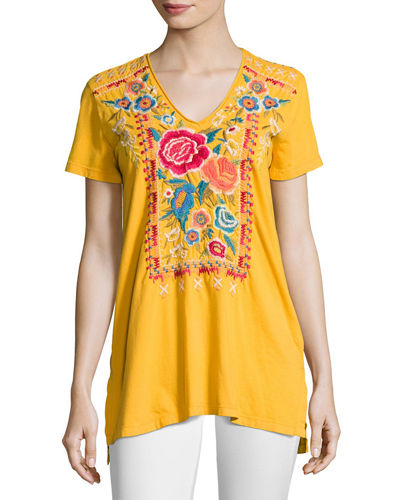 Johnny Was Lucia Short-Sleeve V-Neck Tee, Plus Size