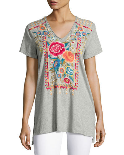 JWLA by Johnny Was Lucia Short-Sleeve V-Neck Tee