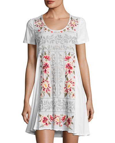 Christine Woven Embroidered-Panel Dress, Plus Size