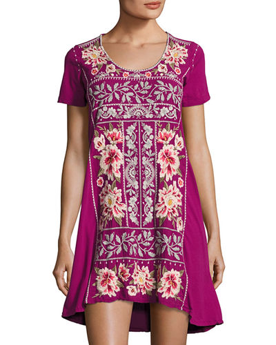Christine Woven Embroidered-Panel Dress