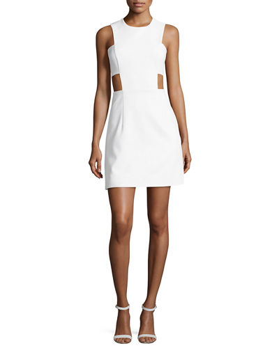 Milly Sleeveless Stretch-Crepe Cutout Minidress