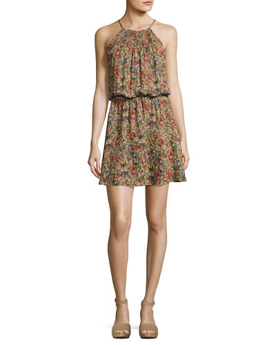Reinelde Sleeveless Floral-Print Silk Dress, Green