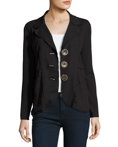 Lompac Metal-Button Jacket, Plus Size