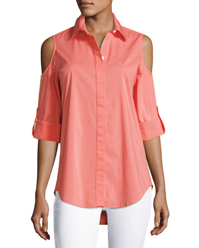 Cold-Shoulder Button-Front Shirt