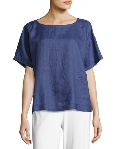 Eileen Fisher Yarn-Dyed Organic Linen Top, Petite