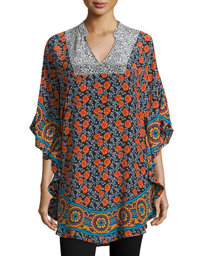 Belle Circles Split-Neck Printed Tunic, Black/Multi
