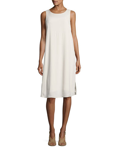 Eileen Fisher Sleeveless Silk A-line Dress