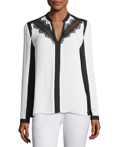 Denise Lace-Trimmed Colorblocked Blouse