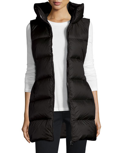 Glykeria Long Hooded Puffer Vest