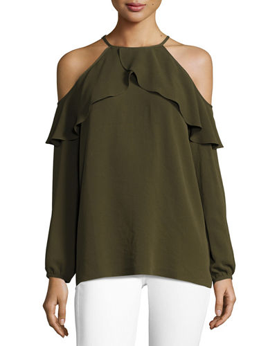 MICHAEL Michael Kors Long-Sleeve Cold-Shoulder Knit Flounce Top