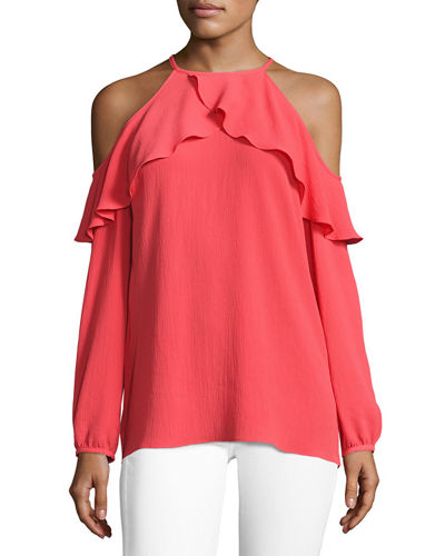 Long-Sleeve Cold-Shoulder Knit Flounce Top