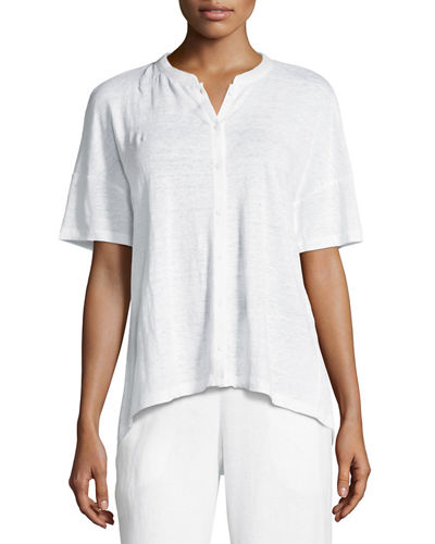 Eileen Fisher Short-Sleeve Button-Front Linen Jersey Top, Plus