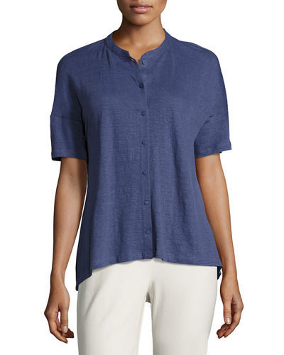 Short-Sleeve Button-Front Linen Jersey Top, Plus Size