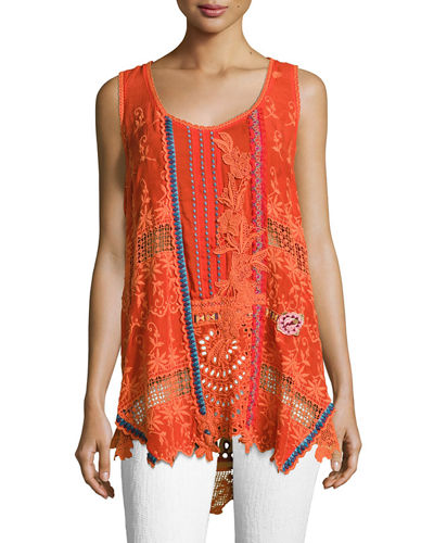 Mixed Embroidery Georgette Tank, Plus Size