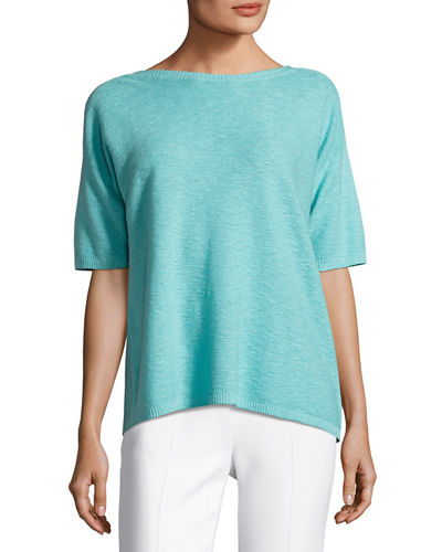 Short-Sleeve Organic Linen/Cotton Box Top, Petite
