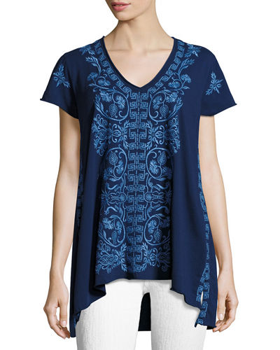 Baja Short-Sleeve Embroidered Top, Plus Size