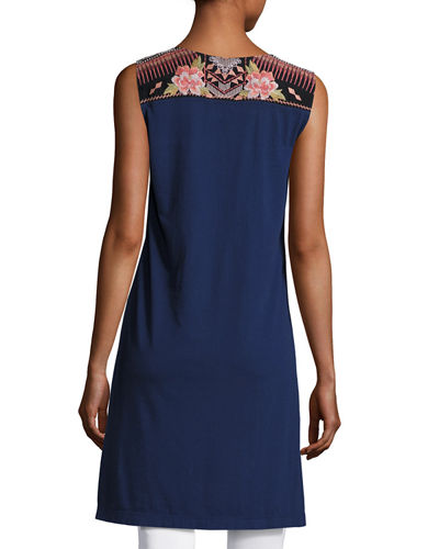 Yojo Sleeveless Embroidered Tunic, Plus Size