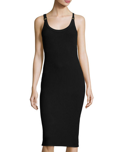 MICHAEL Michael Kors Sleeveless Ribbed Sheath Dress w/