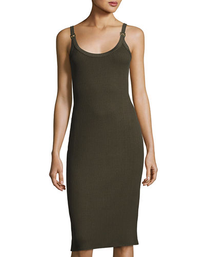 Sleeveless Ribbed Sheath Dress w/ Logo Rings