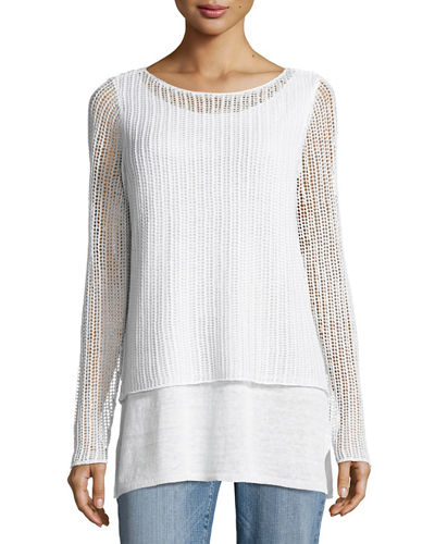 Eileen Fisher Organic Linen Textured Double Layer Top,