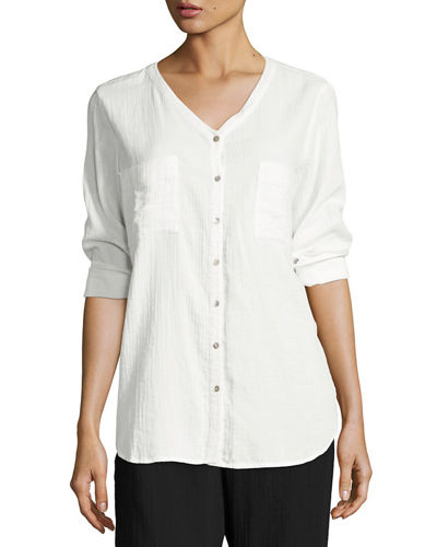 V-Neck Organic Cotton Gauze Pocket Shirt, Petite