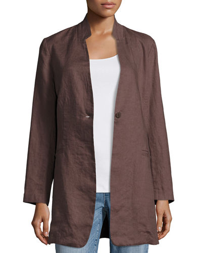 Eileen Fisher Organic Linen Stand-Collar Long Jacket