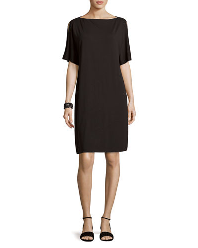 Eileen Fisher Split-Sleeve Jersey Shift Dress, Petite