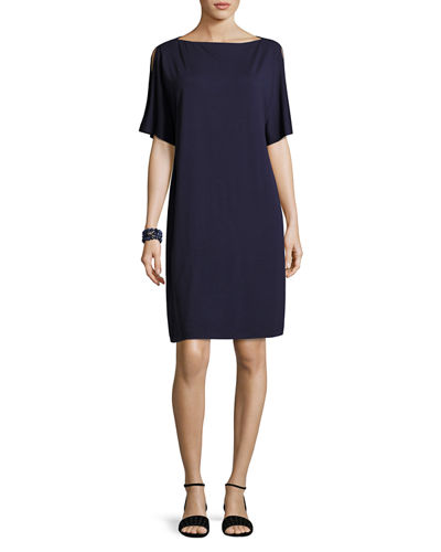 Split-Sleeve Jersey Shift Dress, Petite