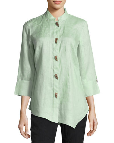 Asymmetric Linen Blouse, Plus Size