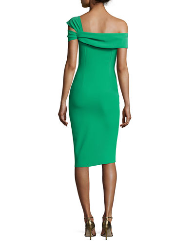 Laia One-Shoulder Stretch Jersey Cocktail Dress, Emerald Green