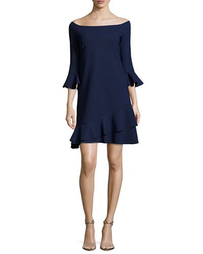 Mirea Off-the-Shoulder Flounce Cocktail Dress