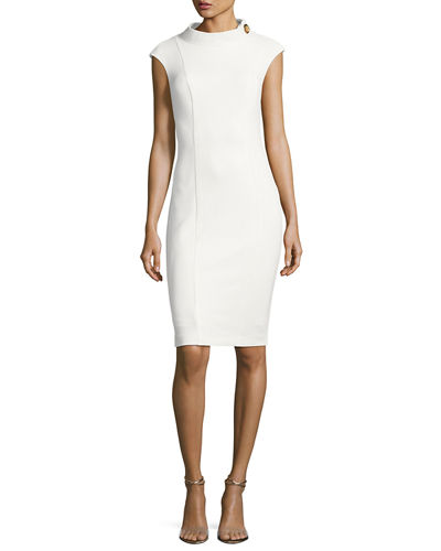 Cap-Sleeve Turn-Lock Ponte Sheath Dress