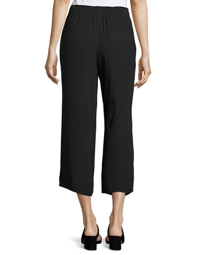 Drawstring-Waist Draped Crop Pants