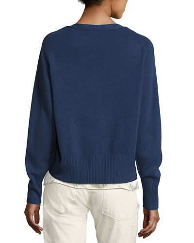 Boat-Neck Pullover Cashmere Sweater