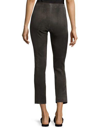Stretch-Suede Split-Hem Cropped Pants