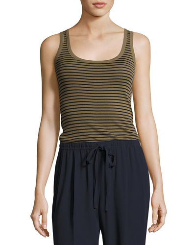 Striped Scoop-Neck Tank Top