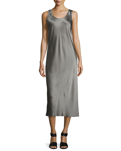 Bias-Seam Sateen Slip Dress